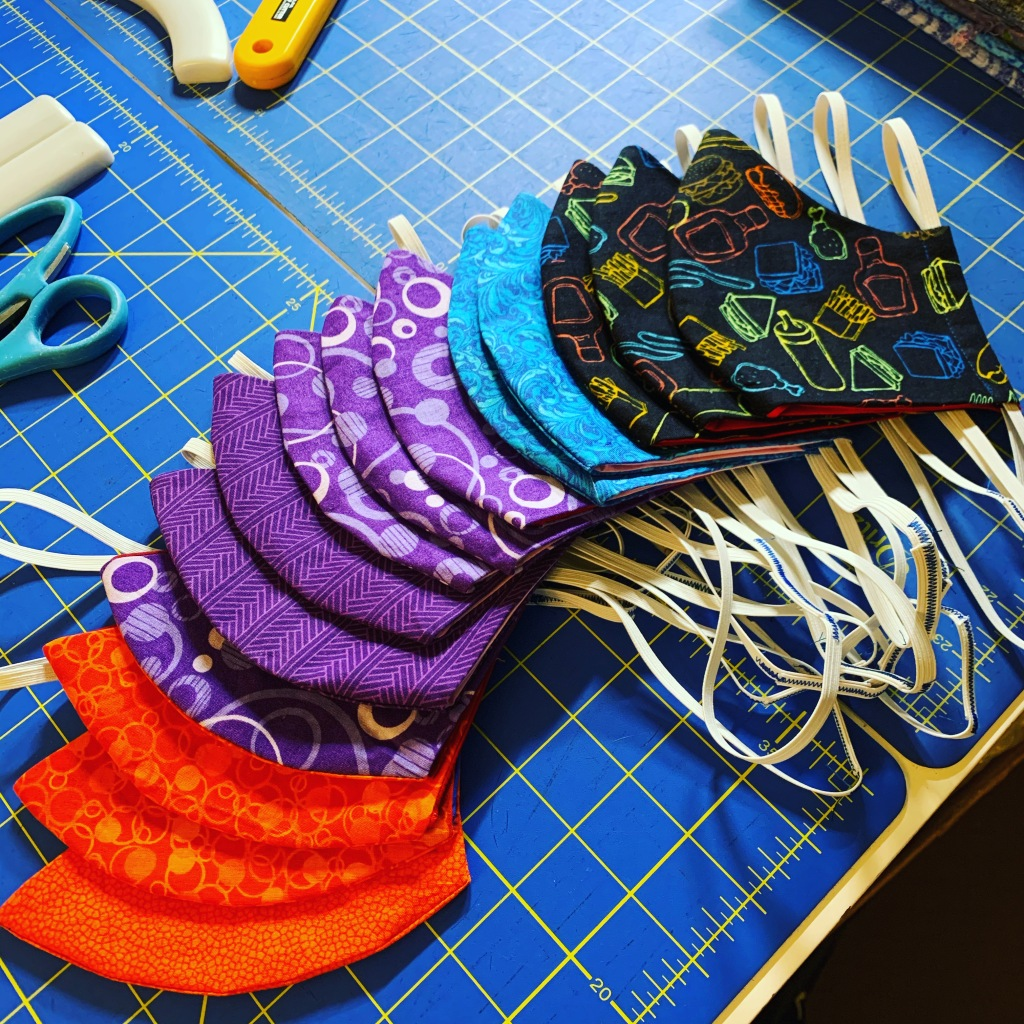 A collection of fabric face masks.